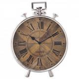 Cumpara ieftin Ceas de masa din metal argintiu lemn maro 30 cm x 10 cm x 41 cm