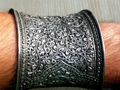 Bratara GIGANT - mare argint 925 reglabila lata 8cm - manufactura veche foto