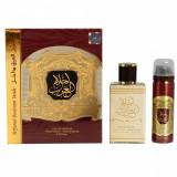 AHLAM AL ARAB Zaafaran Set, Apa de parfum, 80 ml + 50 ml deospray, Parfum Arabesc Oriental