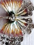 Superba brosa eleganta fluture mare argint 925 placat aur decorat email