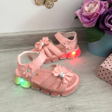 Cumpara ieftin Sandale moi flexibile roz cu fundita si lumini LED beculete pt fetite mar 22, Fete