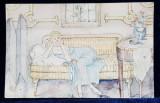 ,FEMEIE PE CANAPEA , CARTE POSTALA PICTATA MANUAL , PENITA SI ACUARELE , CIRCULATA , DATATA 1915