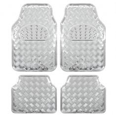 Covorase auto imitatie aluminiu Silver, model universal 4buc, PVC