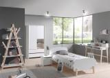 Cumpara ieftin Set Mobila dormitor din lemn de pin si MDF, pentru copii 6 piese Kiddy Alb, 200 x 90 cm