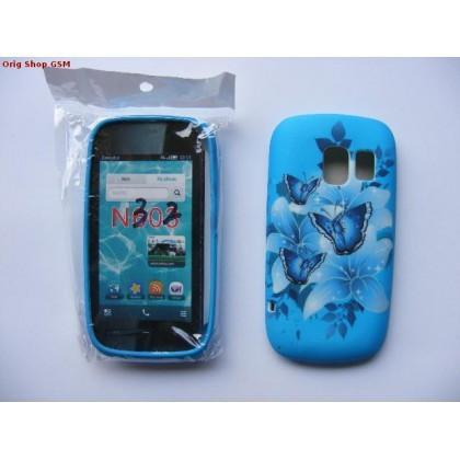 Husa silicon cu model Nokia Asha 302 Butterfly Blue bulk