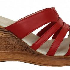 Papuci de dama din piele cu talpa ortopedica Ninna Art 178 rosu
