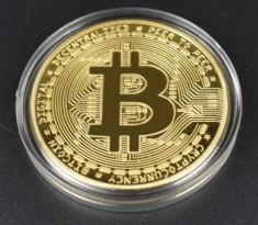 Moneda Suvenir Bitcoin, diametru 40 mm, in cutie de plastic foto