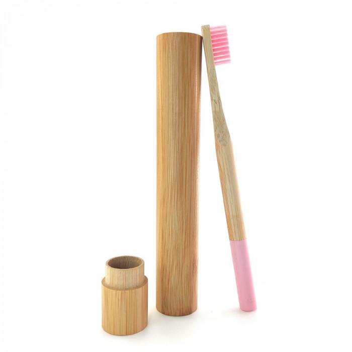 Periuta de dinti clasica, maner rotund, culoare roz, model PRB03 + suport