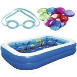 Cumpara ieftin Piscina gonflabila pentru copii cu 2 perechi de ochelari 3D si 1 pachet de cristale, Undersea Adventure Multicolor, L262xl175xH51 cm