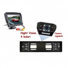 Set suport numar auto cu camera video marsarier si monitor pliabil TFT