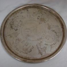 Tava argintata de provenienta indiana avand diametrul de 17 cm