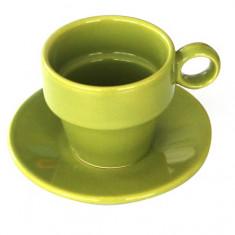 Ceasca JOKER cu farfurioara din ceramica 90ml culoare verde Seramic