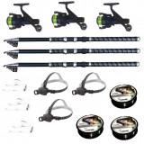 Cumpara ieftin Set pescuit cu 3 lansete 2.7m ultra carp, 3 mulinete dpr200, 3 lanterne frontale led, 3 gute si 3 monturi