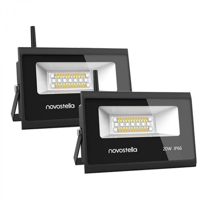 Set 2 proiectoare de podea Smart Wi-fi Novostela, 20 W, 2000 lm, LED RGB