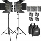 Panou 2x Bi-color 660 LED,Stand + 4 baterii 6600mAh Li-ion + accesorii, Neewer