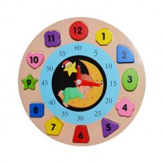 Puzzle incastru din lemn, ceas educativ,19 cm