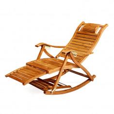 Balansoar de terasa tip scaun living cu cadru lemn rezistent bambus
