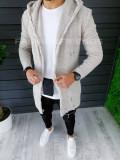 Cardigan barbati bej cu gluga slim fit ZR T3601