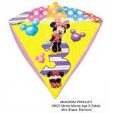 Balon folie diamonds Minnie Mouse Cifra 3 - 38x43cm, Amscan 28622