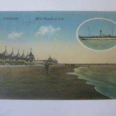 Carte postala Constanta-Baile Mamaia si plaja/vapor,circulata 1924