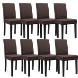 Cumpara ieftin Set Verona 8 scaune bucatarie, 90 x 42 cm, tapitat, piele sintetica, forma sezut trapezoidala, maro