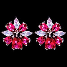 Cercei placati cu Aur 18K si Diamante, Iris Platinum & Red