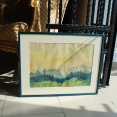 Tablou pictura Gheorghe Savin (n.1922, Husi) - Padure, Peisaje, Acuarela, Impresionism
