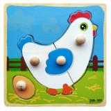 Cumpara ieftin Puzzle din lemn incastru cu maner - 4 piese gaina si ou.