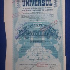 Actiuni ziarul Universul - 1921 - Titlu - Actiune la purtator