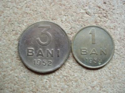 ROMANIA - LOT 3 BANI 1952 + 1 BAN 1954 . RPR . L 7.16 foto