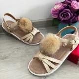 Cumpara ieftin Sandale crem bej elegante cu puf pt fete / talpa moale piele 31 32 33 34 35