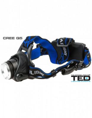 Lanterna cap TED Electric 1 LED CREE 10W zoom include 2 acumulatori 18650 Li-Ion incarcator retea si auto FL-19-L2 foto