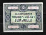 ROMANIA - OBLIGATIUNE CEC 200 LEI, PERIOADA RSR