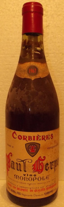 6 - VIN CORBIERES, PAUT SERPE VIN MONOPOLE, recoltare 1967 cl 75 gr 12