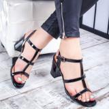 Sandale dama negre cu toc Tisea-rl