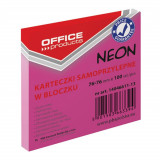 Cumpara ieftin Notite Adezive OFFICE Products, 76x76 mm, 100 File, 70 g/m², Culoare Roz Neon, Notes-uri, Post-it, Articole Hartie, Accesorii Birou