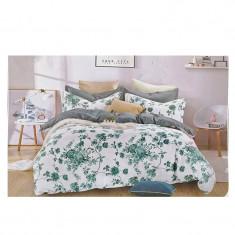Lenjerie pat dublă, bumbac satinat, 4 piese, model floral turcoaz