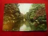 Ilustrata color Berlin 1909 -Parc ,francat cu 2x5pf verde ,stamila goarna 152