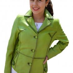 Jacheta scurta Jasmine pana in talie,piele naturala,nuanta de verde
