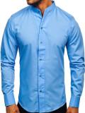 Cumpara ieftin Cămașă pentru bărbat cu mâneca lungă albastră Bolf 5702