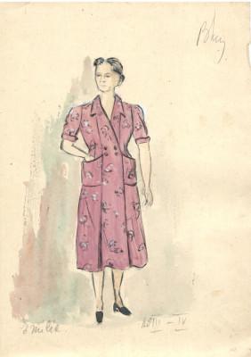 Personaj Emilia, costum spectacol, tehnică mixta, 21x29 cm, teatru, scenografie foto