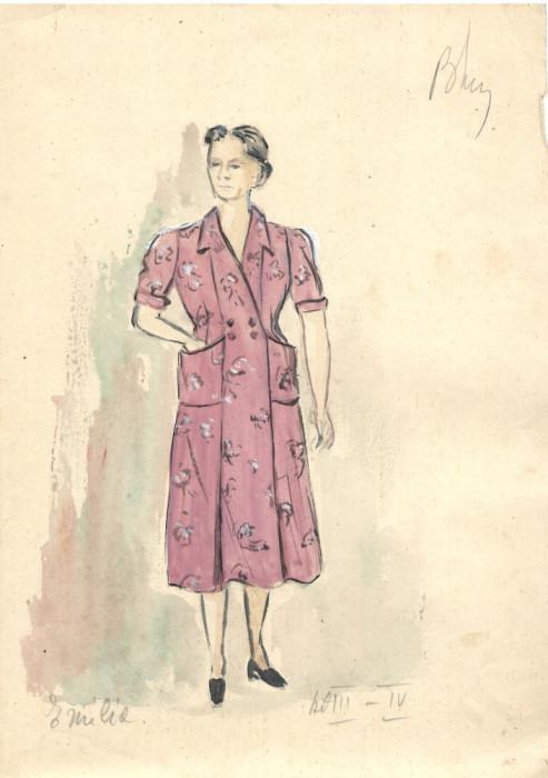 Personaj Emilia, costum spectacol, tehnică mixta, 21x29 cm, teatru, scenografie