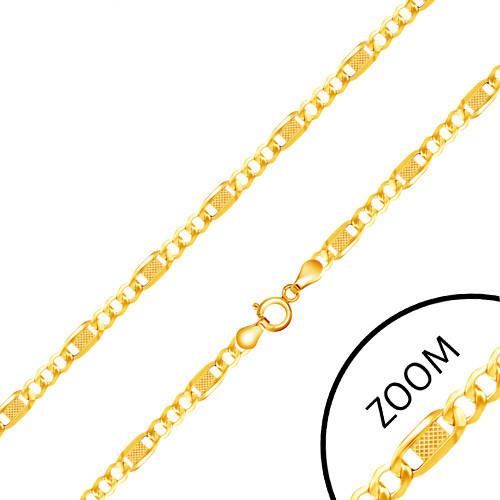 Lanț aur galben 14K, trei ochiuri, za lungă cu plasă, 450 mm