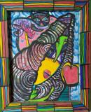 Tablou pictat ,,Oglindam oglinjoara...Cine-i cea mai frumoasa din afara tarii?,,, Animale, Acrilic, Art Deco