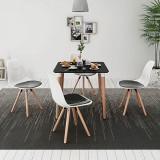 VidaXL Set de masă cu scaune, 5 piese, alb și negru