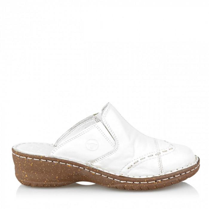 Papuci Saboti dama 271 cu varf inchis, alb