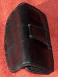 Port telefon din piele, la centură, vintage, 5 x 13 cm, Allview A5 Quad, Negru