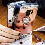 Husa Silicon oglinda cu pietricele si inel pt Samsung Galaxy S9 / S9+ / S9 Plus, Alt model telefon Samsung, Argintiu, Auriu, Roz