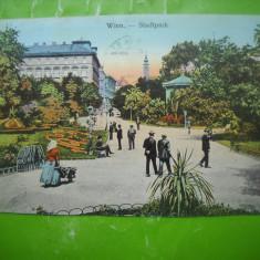 HOPCT 185 P PARCUL CENTRAL VIENA   IN ANUL 1911 AUSTRIA-CIRCULATA