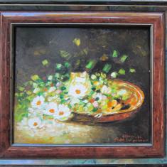 Tablou / Pictura ghiveci cu flori semnat Cimpoesu., Ulei, Realism